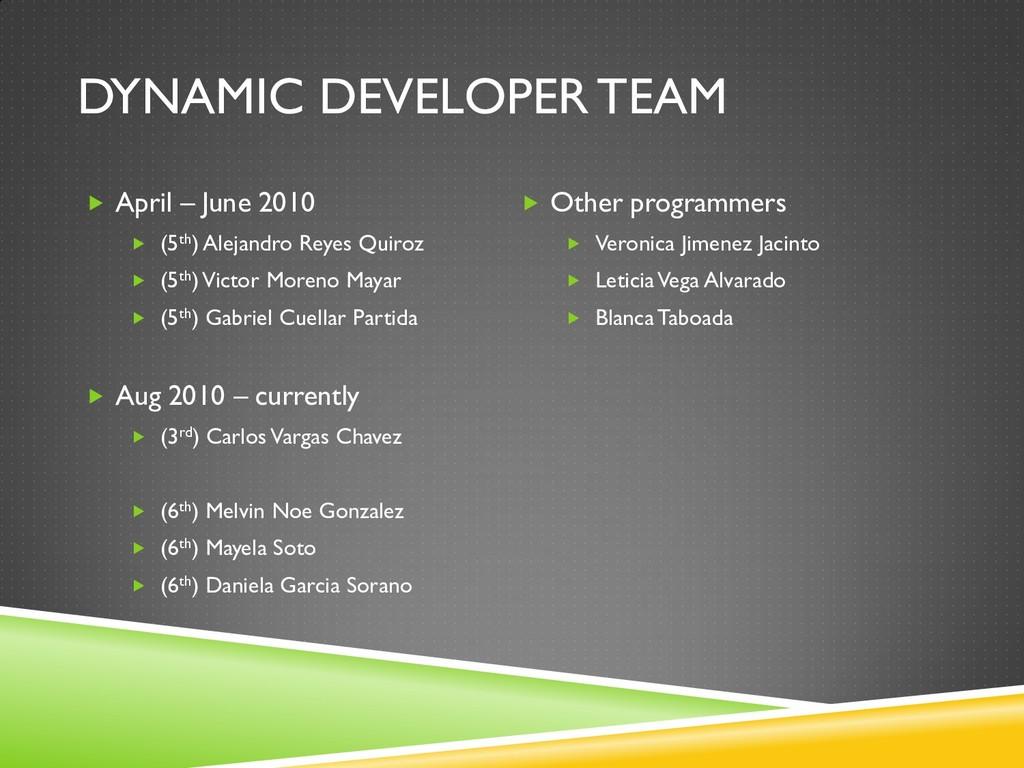 DYNAMIC DEVELOPER TEAM  April – June 2010  (5...