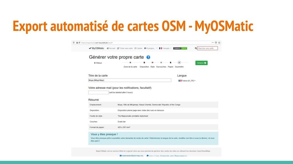 Export automatisé de cartes OSM - MyOSMatic