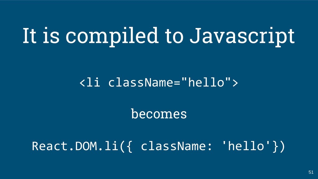 """51 It is compiled to Javascript <li className=""""..."""