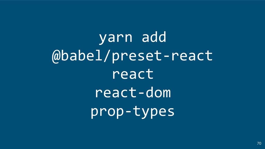 70 yarn add @babel/preset-react react react-dom...