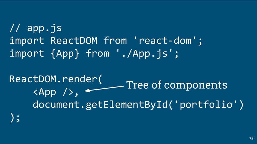 73 // app.js import ReactDOM from 'react-dom'; ...