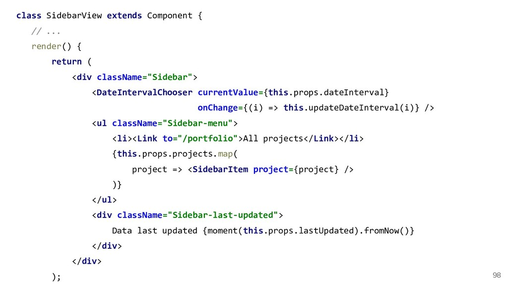class SidebarView extends Component { // ... re...
