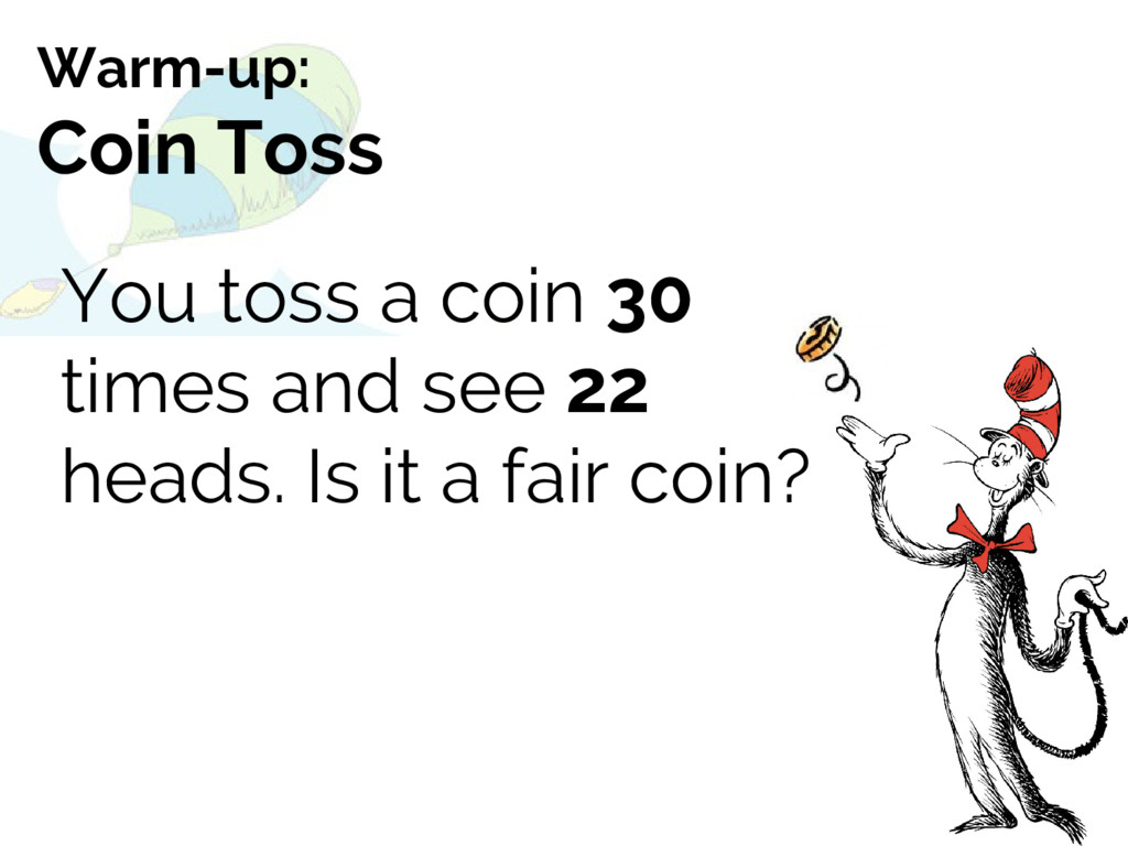 You toss a coin 30 times and see 22 heads. Is i...