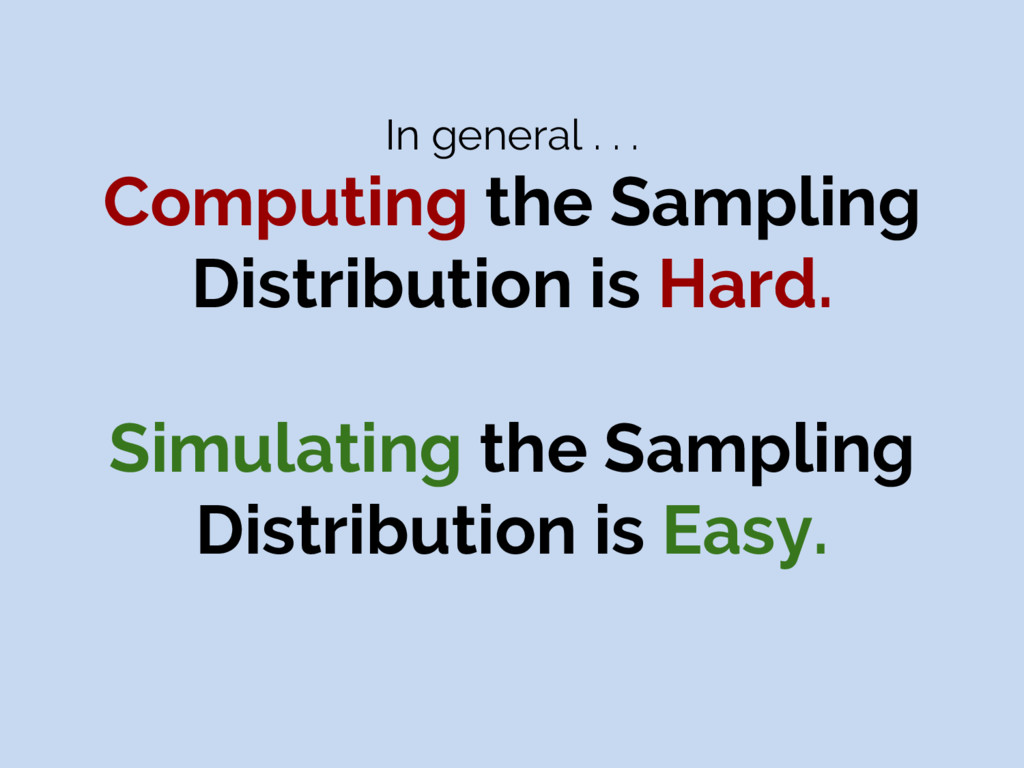 In general . . . Computing the Sampling Distrib...