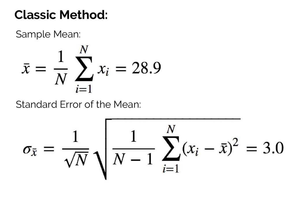 Classic Method: Sample Mean: Standard Error of ...