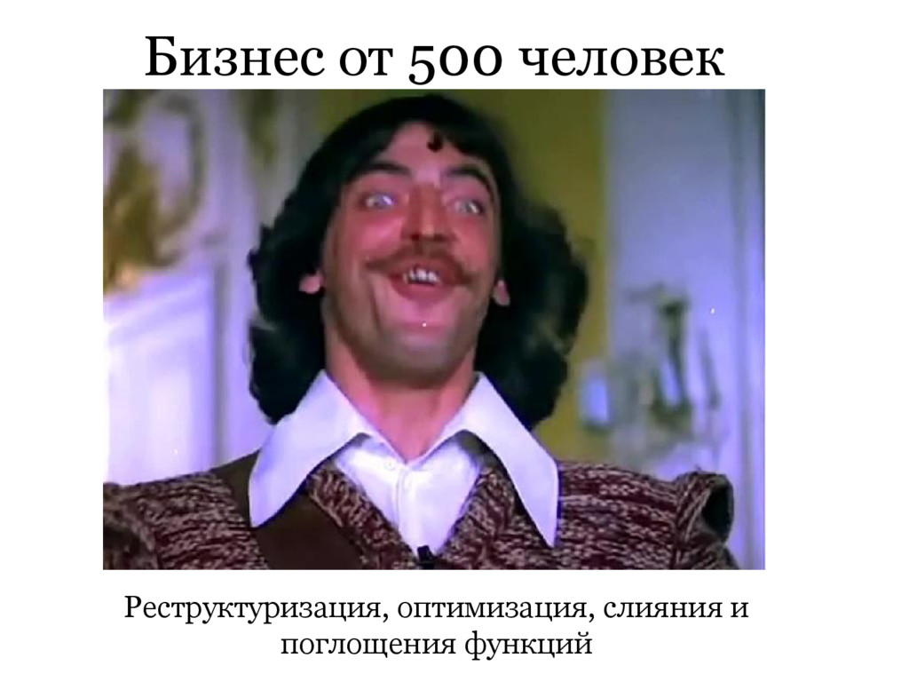 Бизнес от 500 человек Реструктуризация, оптимиз...