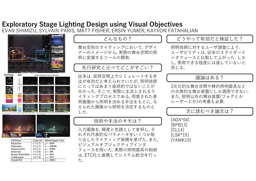 Exploratory Stage Lighting Design using Visual ...