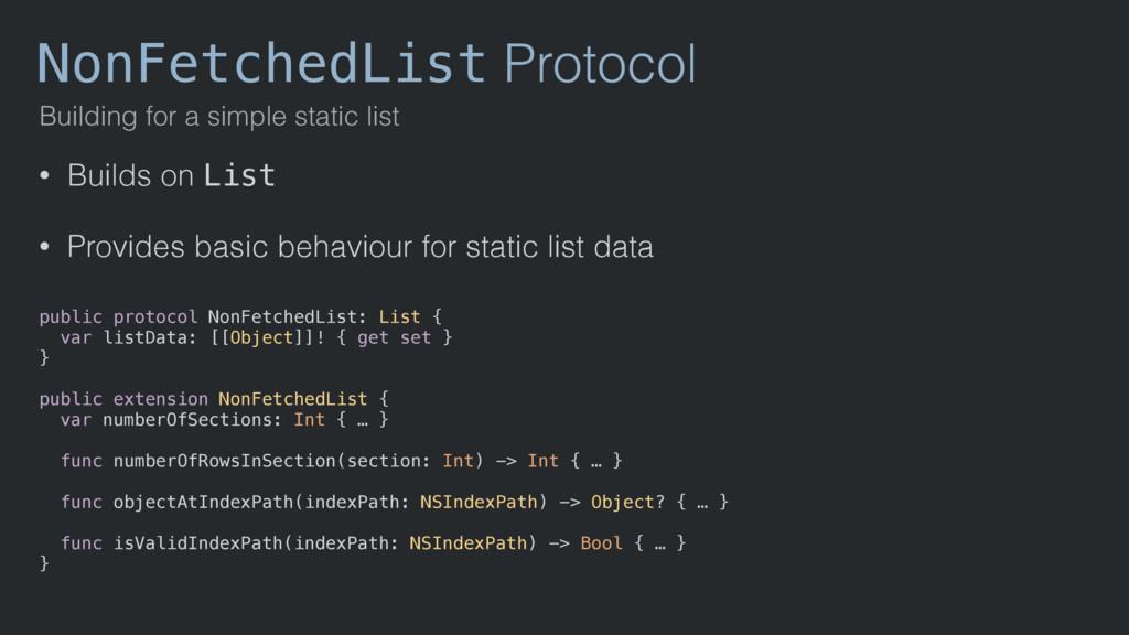 NonFetchedList Protocol Building for a simple s...