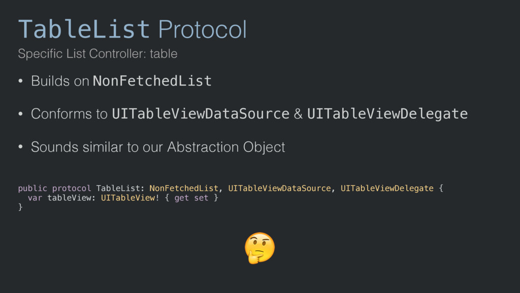 TableList Protocol Specific List Controller: tab...