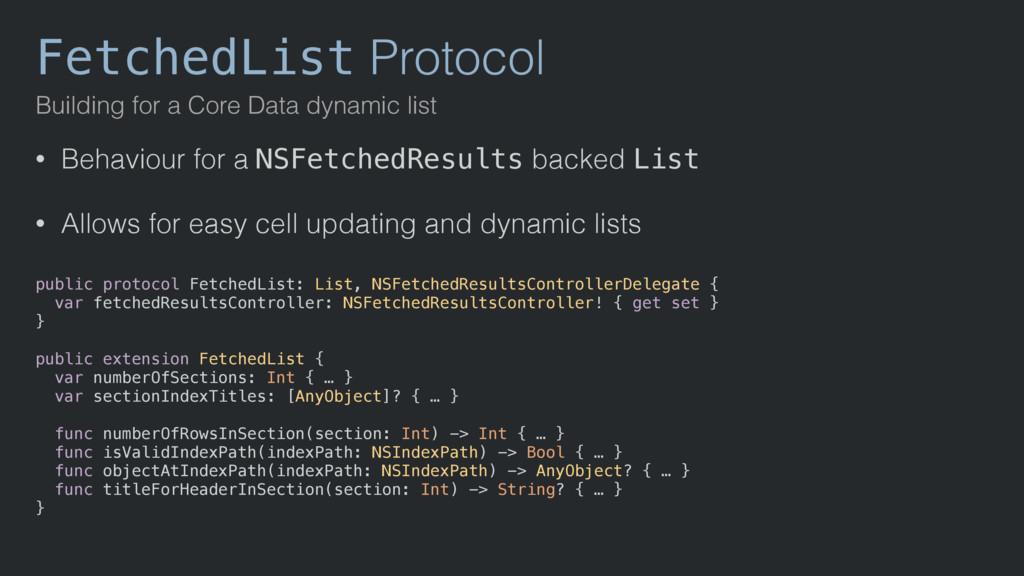 FetchedList Protocol Building for a Core Data d...