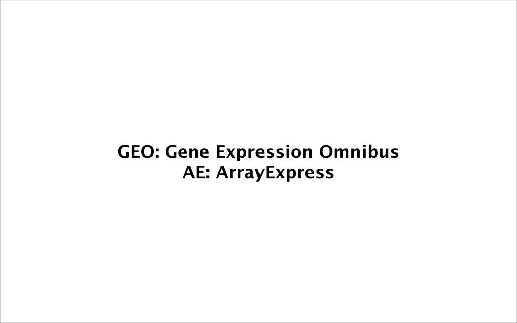 GEO: Gene Expression Omnibus AE: ArrayExpress