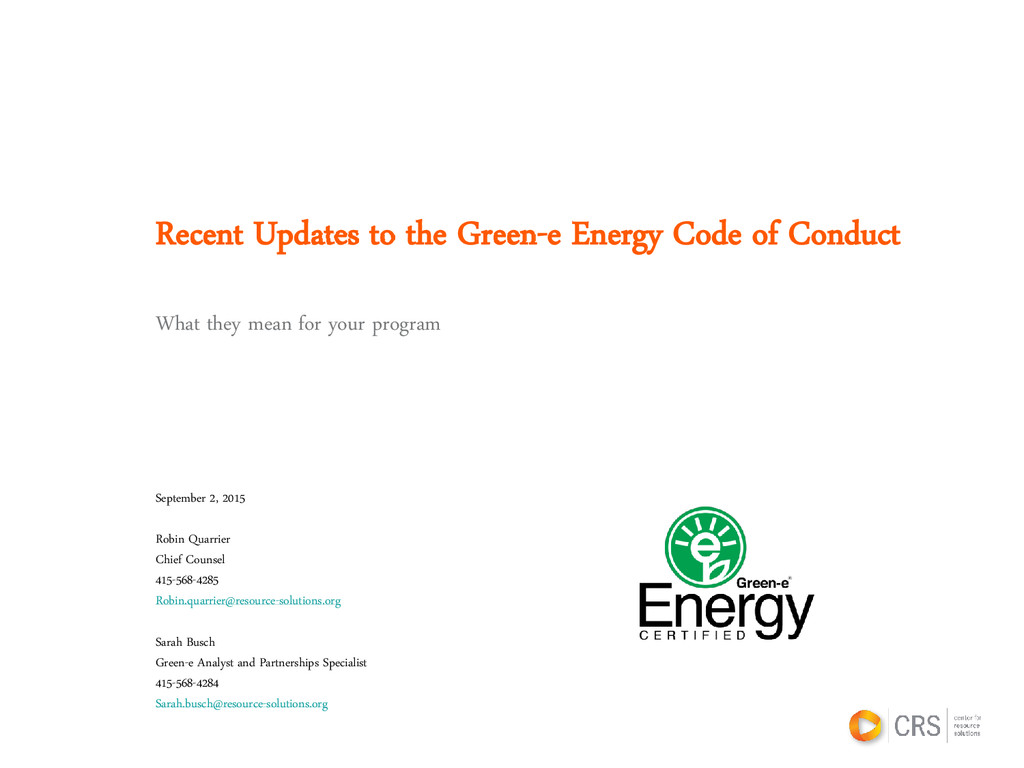 Recent Updates to the Green-e Energy Code of Co...
