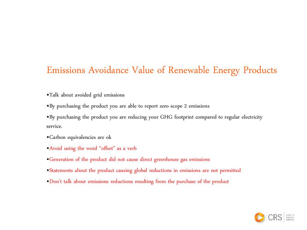 Emissions Avoidance Value of Renewable Energy P...