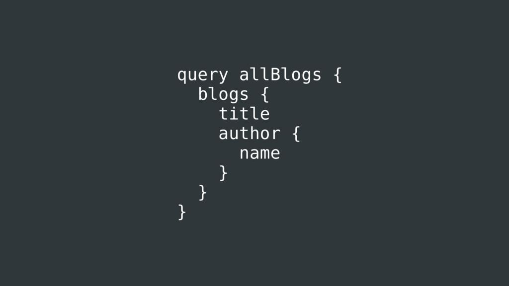 query allBlogs { blogs { title author { name } ...