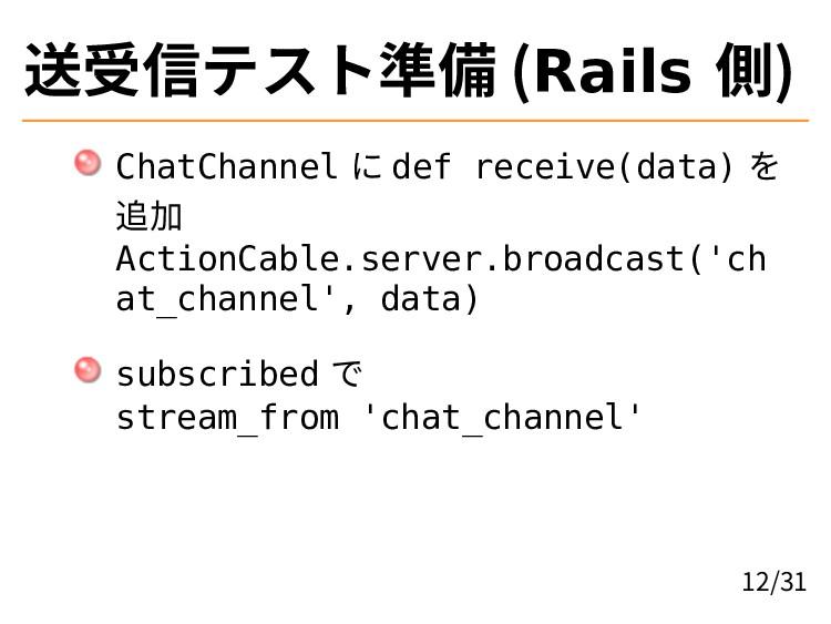 送受信テスト準備 (Rails 側) ChatChannel に def receive(da...