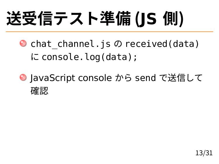 送受信テスト準備 (JS 側) chat_channel.js の received(data...