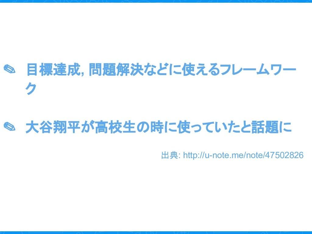✎ 目標達成, 問題解決などに使えるフレームワー ク ✎ 大谷翔平が高校生の時に使っていたと話...