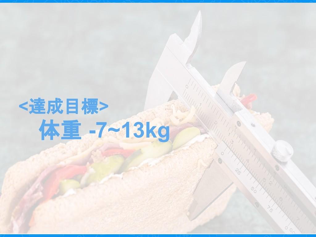 <達成目標> 体重 -7~13kg
