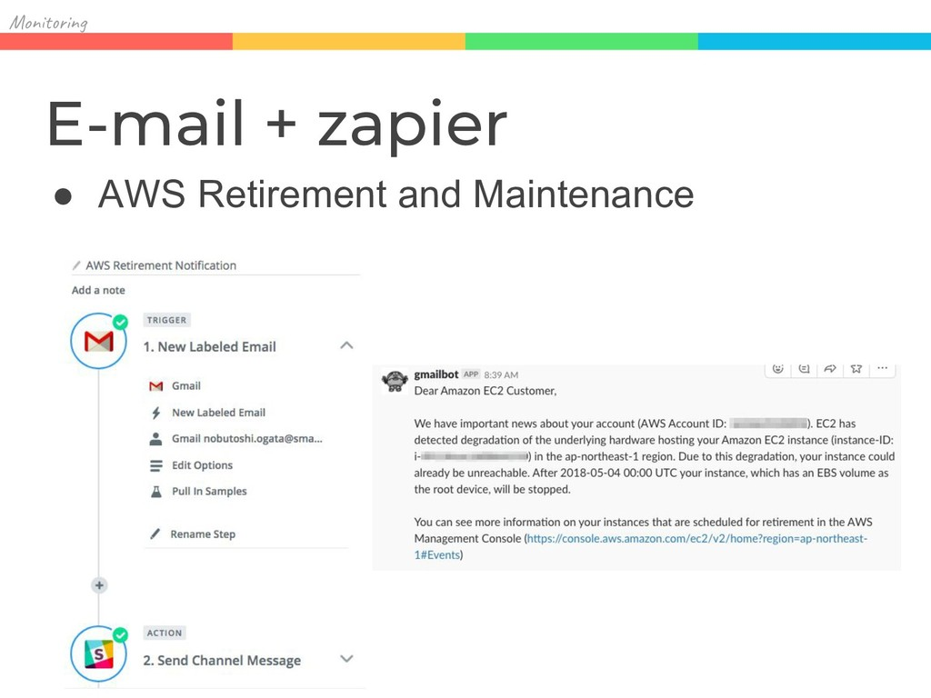 Mon in E-mail + zapier ● AWS Retirement and Mai...