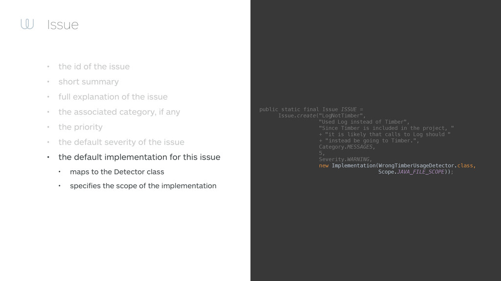 Issue • the id of the issue • short summary • f...