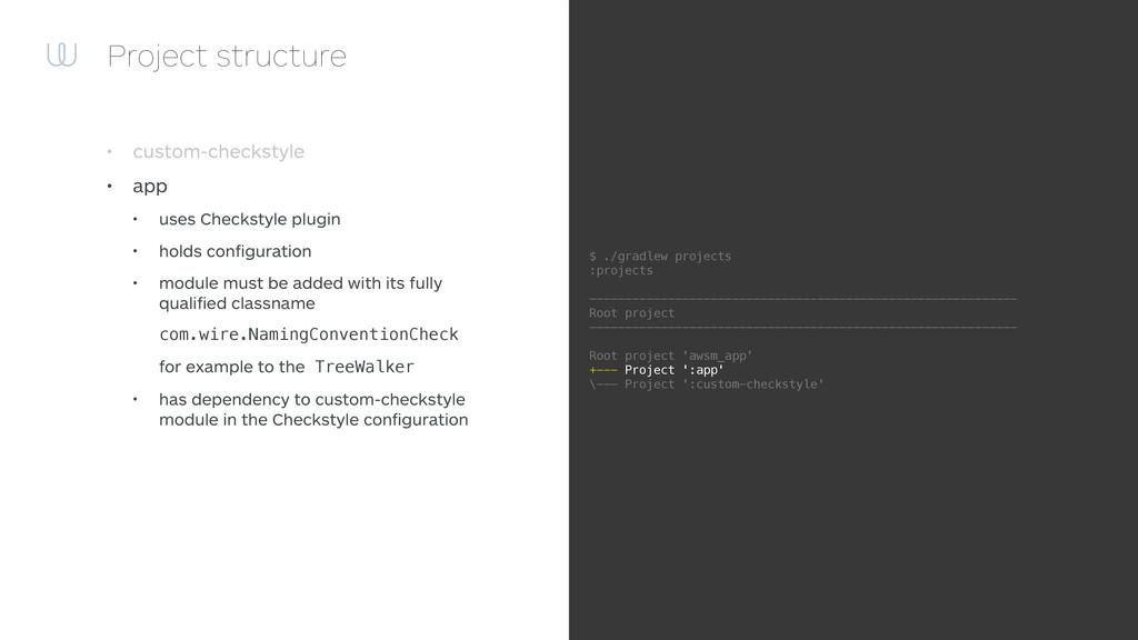 Project structure • custom-checkstyle • app • u...