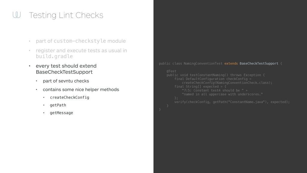 Testing Lint Checks • part of custom-checkstyle...