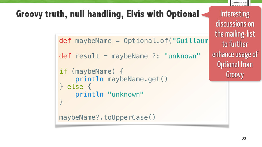 Groovy truth, null handling, Elvis with Optiona...