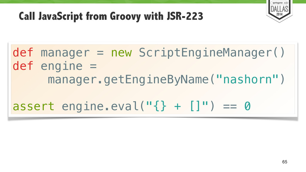 Call JavaScript from Groovy with JSR-223 65 def...