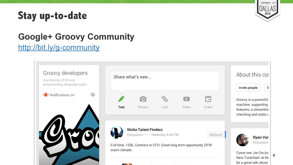 Stay up-to-date Google+ Groovy Community http:/...