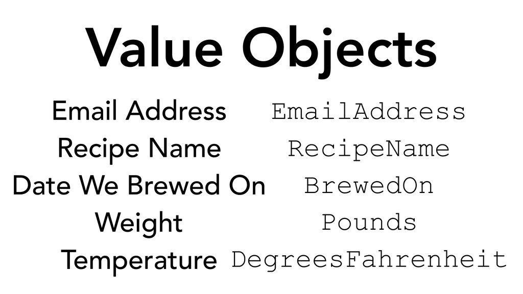 Value Objects EmailAddress RecipeName BrewedOn ...