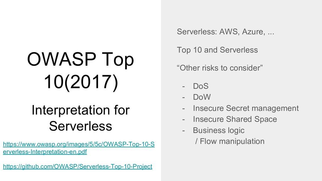 OWASP Top 10(2017) Interpretation for Serverles...