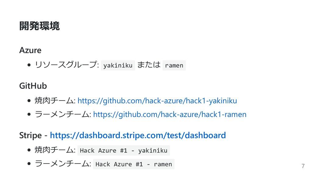 開発環境 Azure リソースグループ: yakiniku または ramen GitHub ...