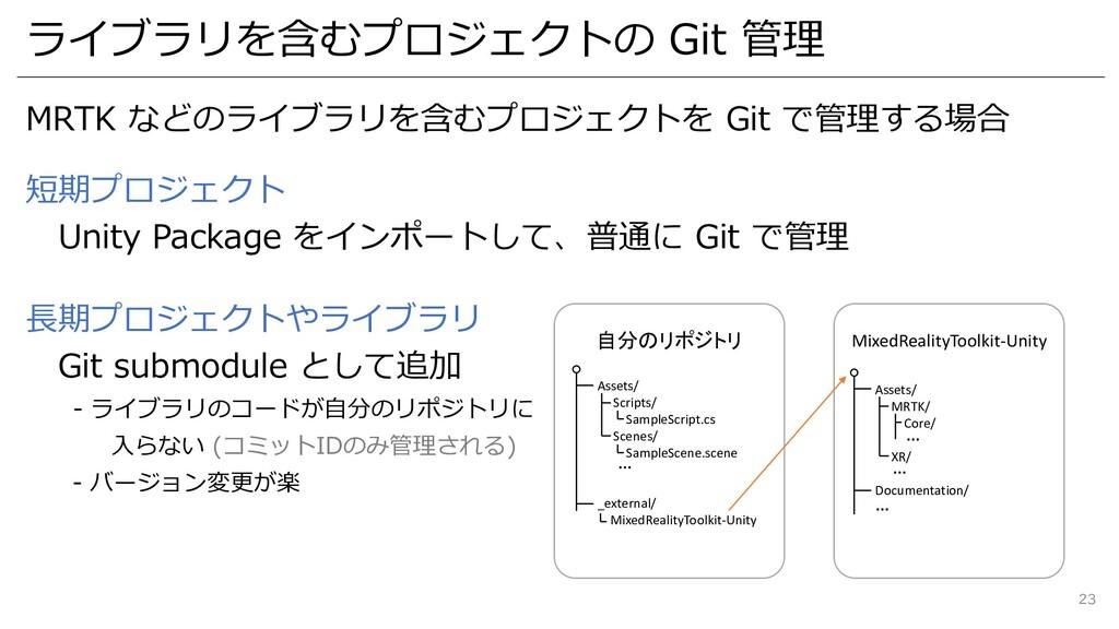 ライブラリを含むプロジェクトの Git 管理 MRTK などのライブラリを含むプロジェクトを ...