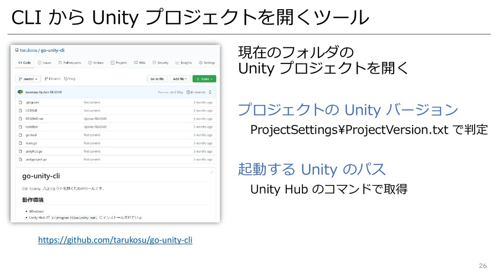 CLI から Unity プロジェクトを開くツール 現在のフォルダの Unity プロジェクト...