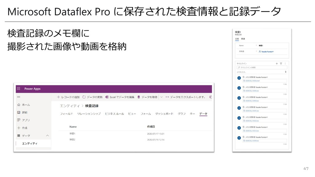 Microsoft Dataflex Pro に保存された検査情報と記録データ 検査記録のメモ...
