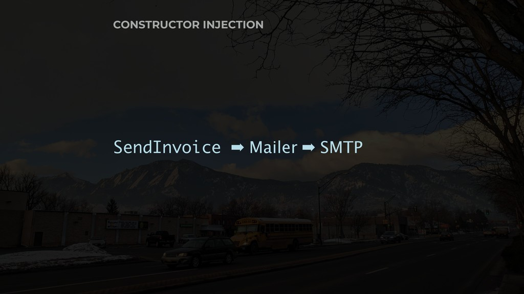 CONSTRUCTOR INJECTION SendInvoice ➡ Mailer ➡ SM...