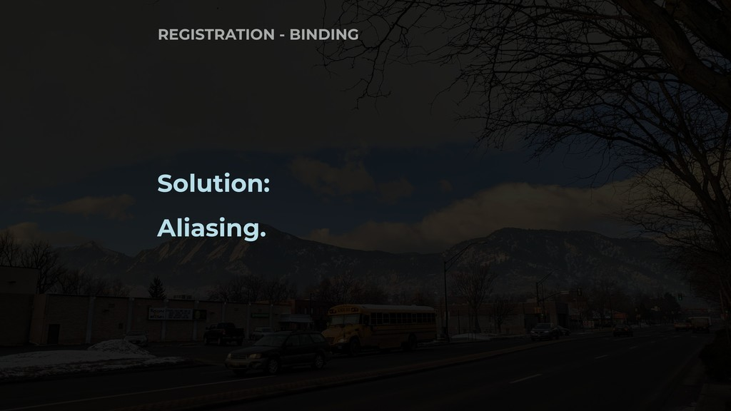 Solution: Aliasing. REGISTRATION - BINDING
