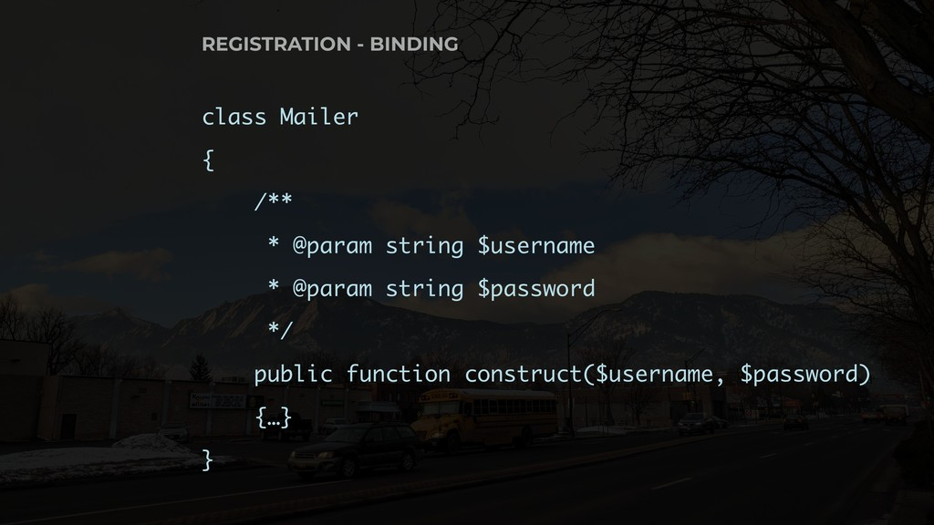 class Mailer { /** * @param string $username * ...