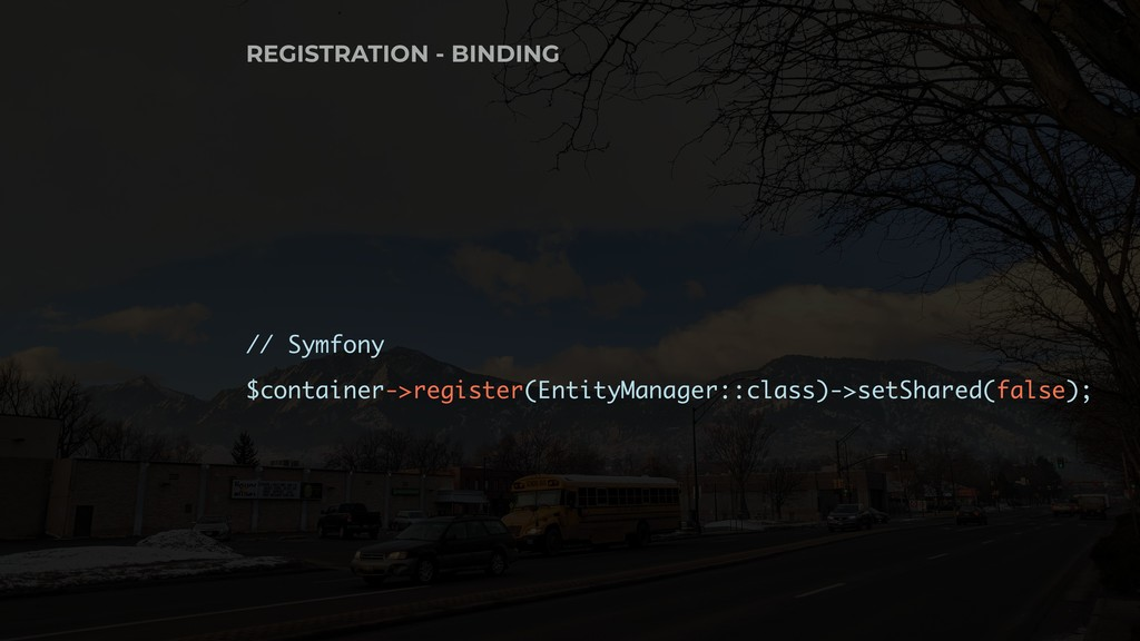// Symfony $container->register(EntityManager::...