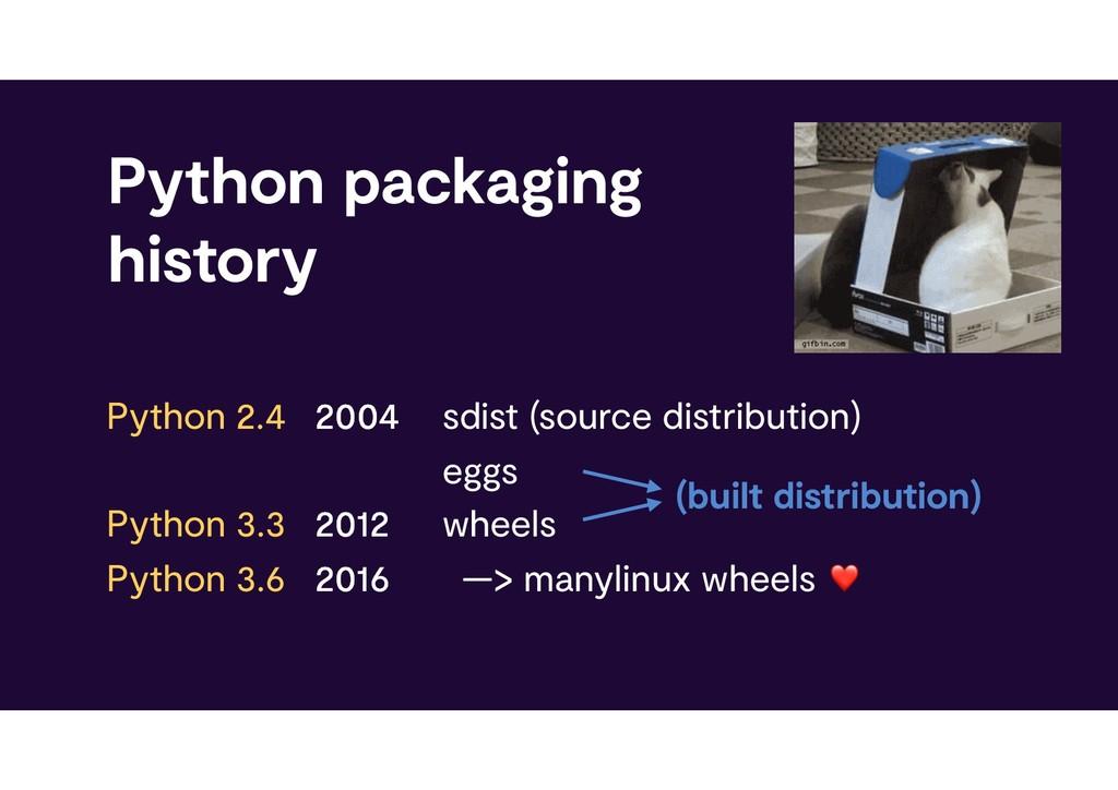 Python packaging history sdist (source distrib...