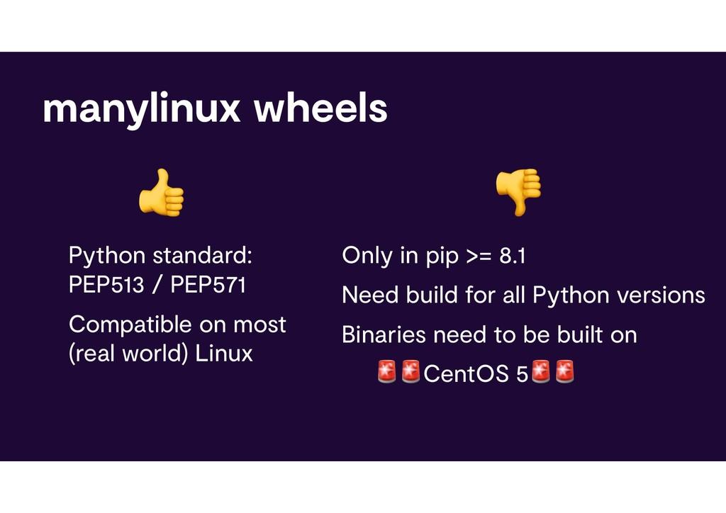 manylinux wheels Python standard: PEP513 / PEP5...