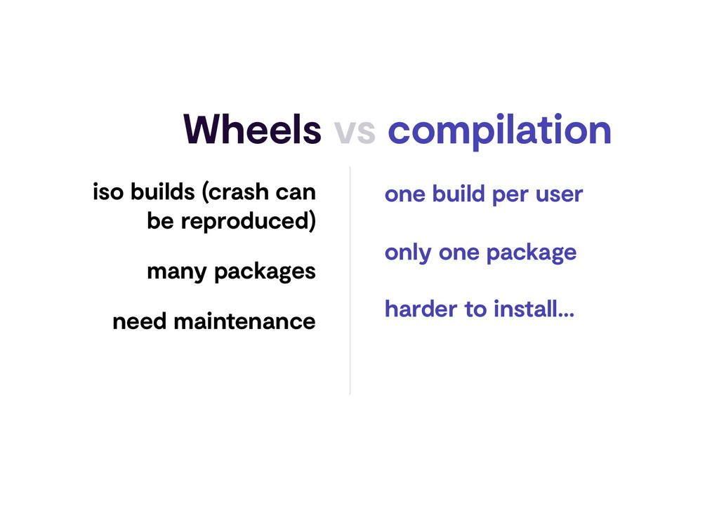 Wheels vs compilation iso builds (crash can be ...