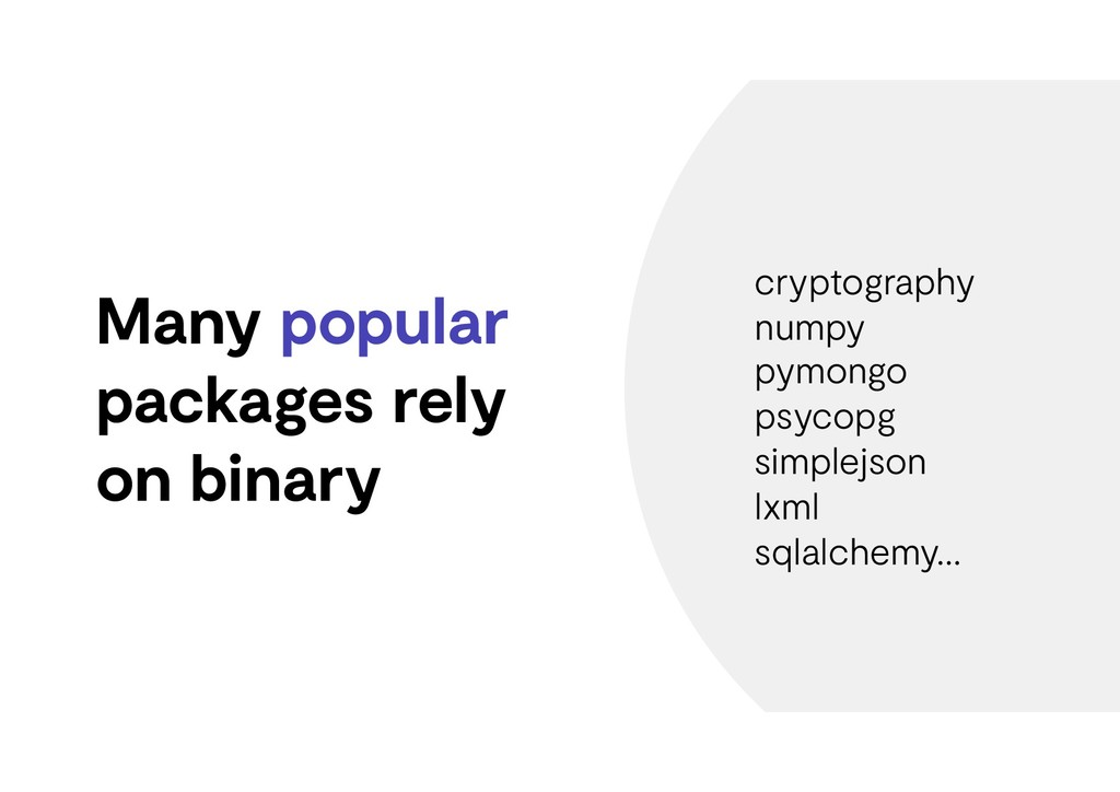 Many popular packages rely on binary cryptograp...