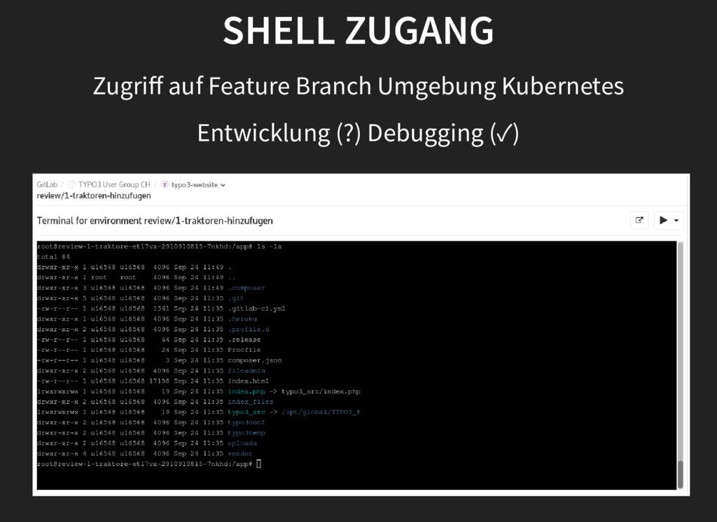 SHELL ZUGANG Zugriff auf Feature Branch Umgebung...