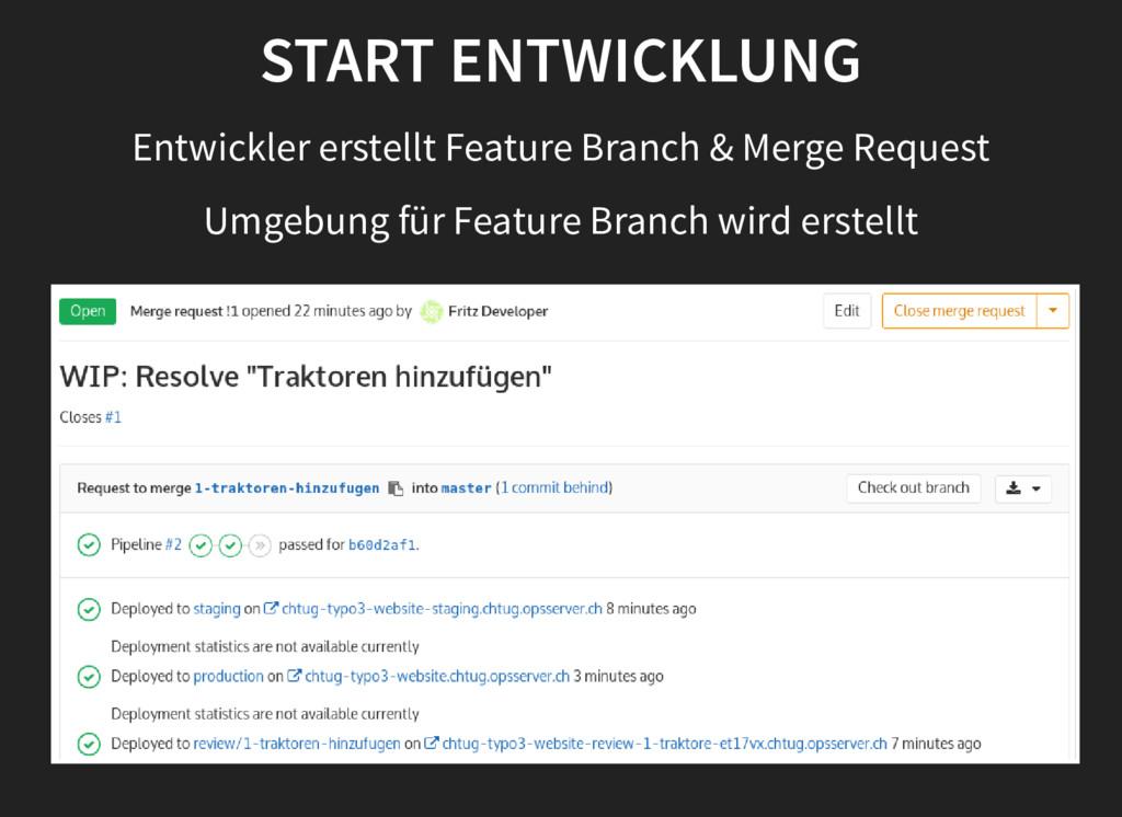 START ENTWICKLUNG Entwickler erstellt Feature B...