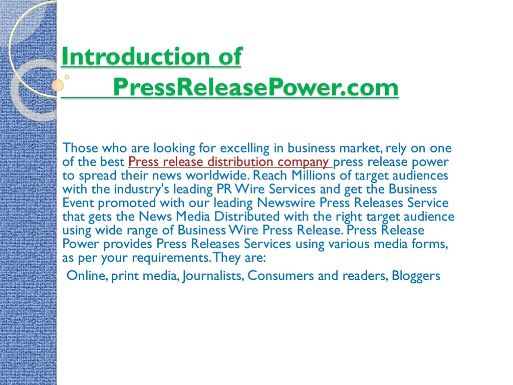 Introduction of PressReleasePower.com Those who...