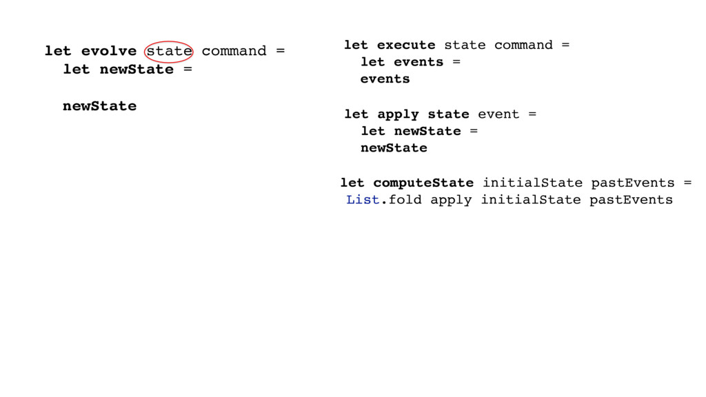// State -> Command -> State let evolve state c...