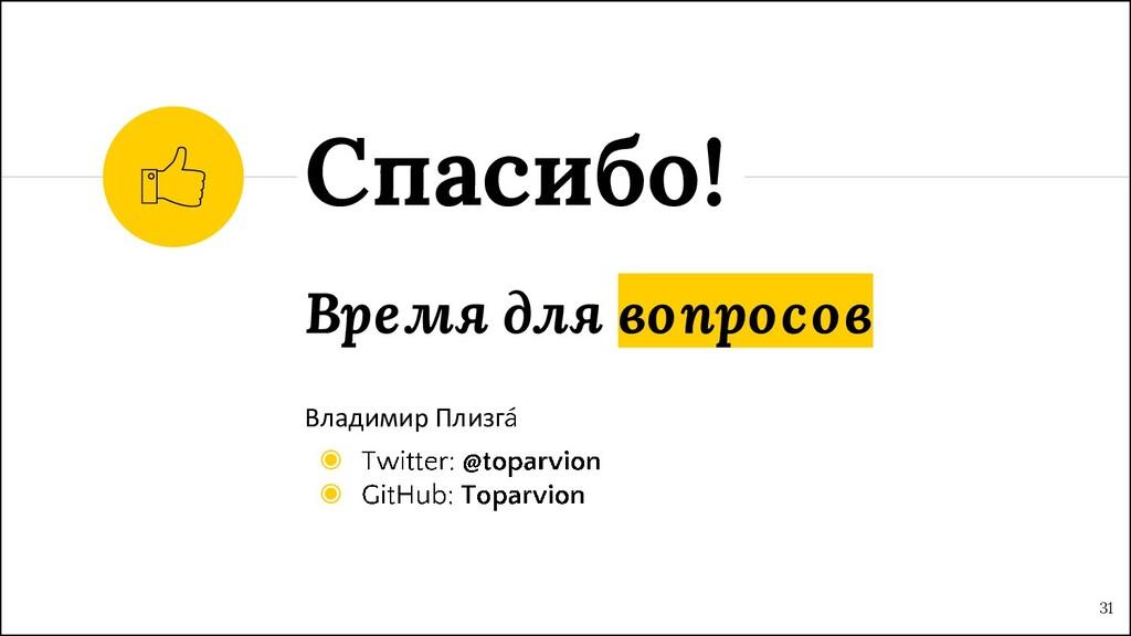 Время для вопросов Владимир Плизг ◉ ◉ Спасибо! ...