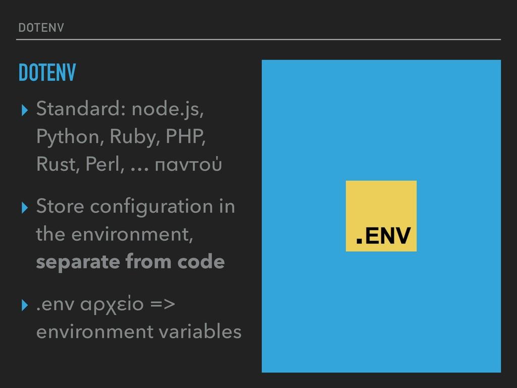 DOTENV DOTENV ▸ Standard: node.js, Python, Ruby...