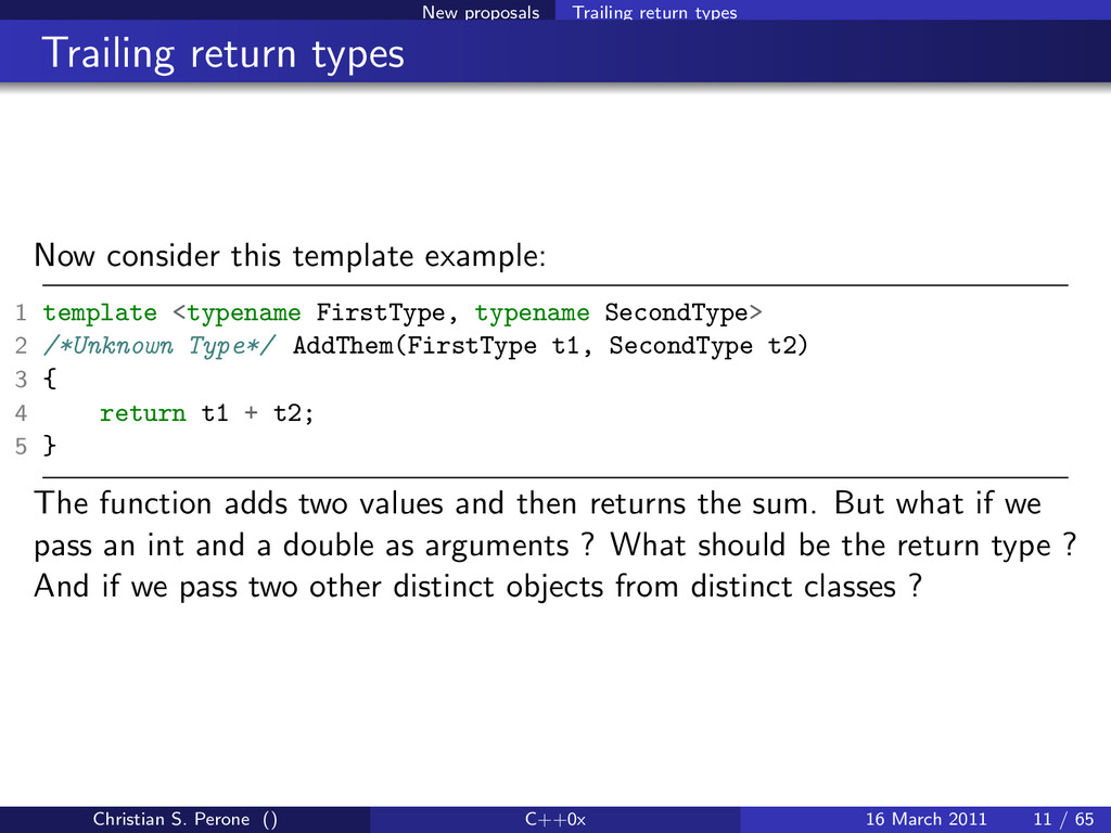 New proposals Trailing return types Trailing re...